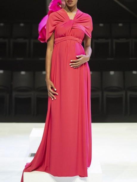 Erre Twist Dress Coral Modeled Maternity dress