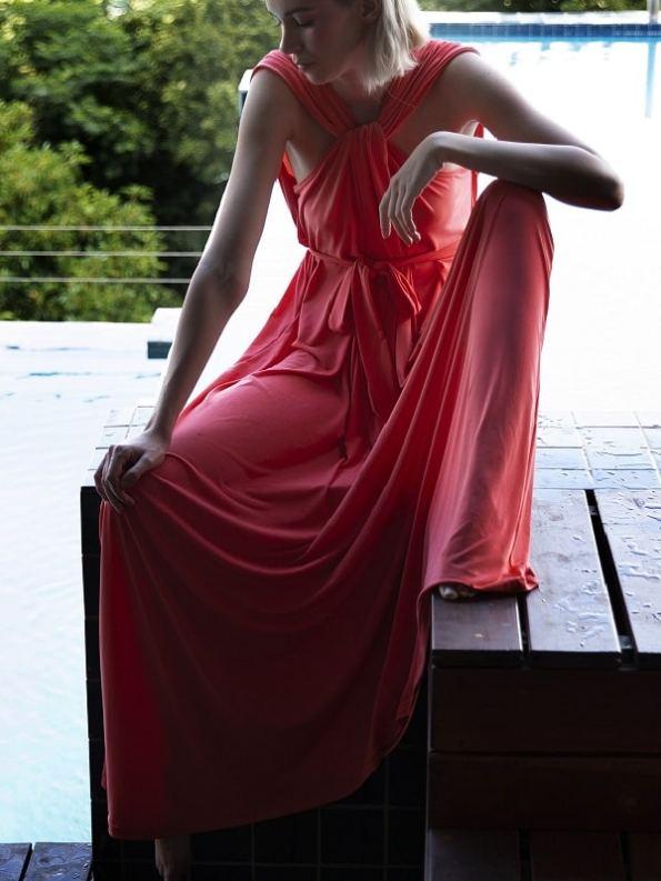 Erre Twist Dress Coral Modeled