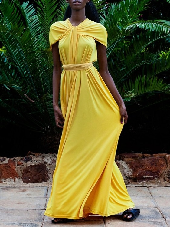 Erre Twist Dress Yellow Front