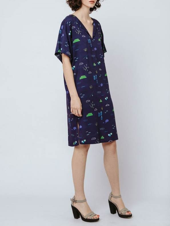 Good Clothing Resort Tunic Navy Cape Town Scene Side