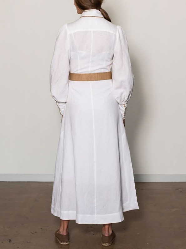 Smudj Aaron Maxi Dress White Linen Back