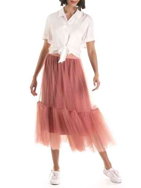 white top and pink mesh skirt