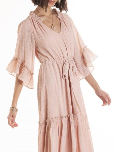 Smudj Elody Dress Pink Modeled Cropped