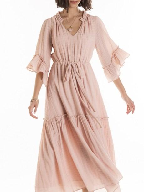 Pink maxi ruffle maxi dress