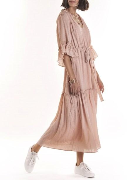 Smudj Elody Dress Pink Modeled Side