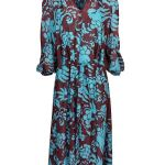 sheer dress with burgundy and turquoise print