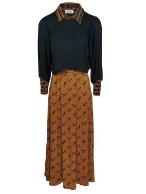 African Style Story (3-in-1) Dress, Rust and Black