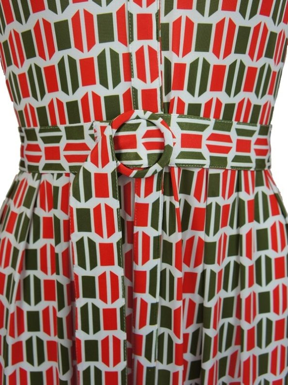 African Style Story Shirt Dress, Green and Red Doors Belt