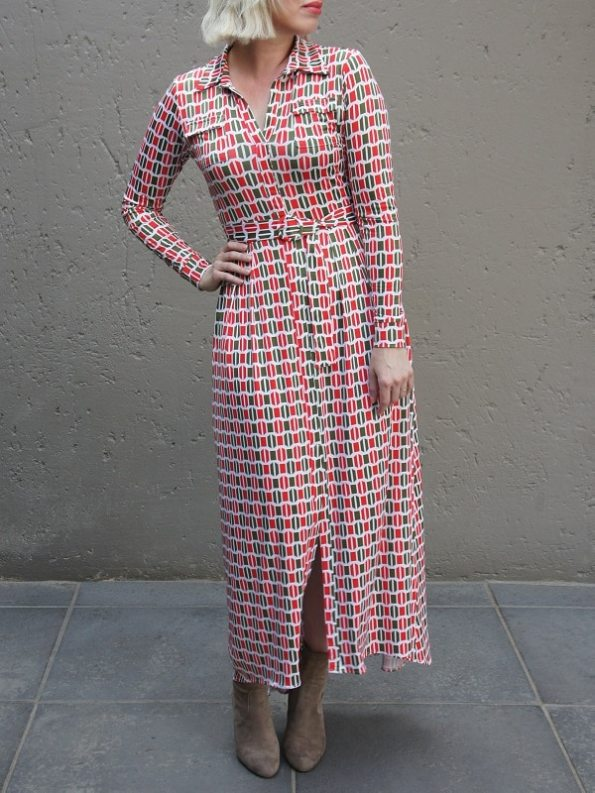 African Style Story Shirt Dress, Green and Red Doors Slit