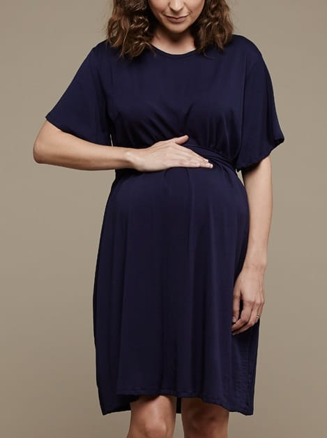 Mareth Colleen April4Mom Dress Navy Front
