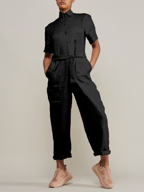 Mareth Colleen Boilersuit Black Front