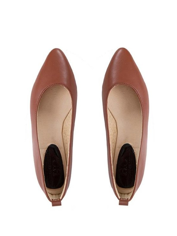 House Of Cinnamon Fama Pointed Flat Brown Pair