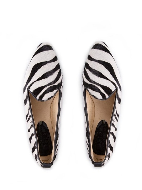 House of Cinnamon Adelaide Pointed Loafer Zebra Print Pair