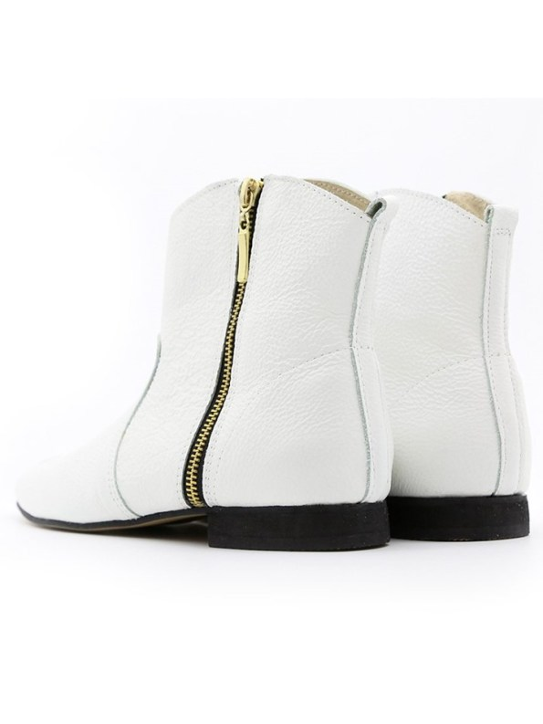 House of Cinnamon Cowboy Ankle Boot White Pair Back