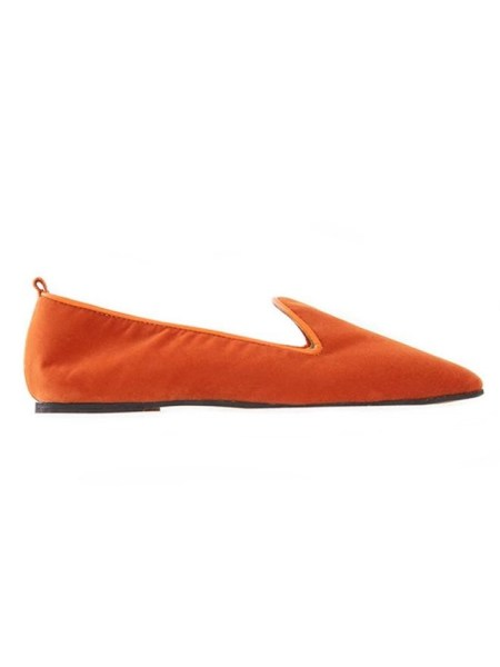 Orange velvet loafer made in South Africa