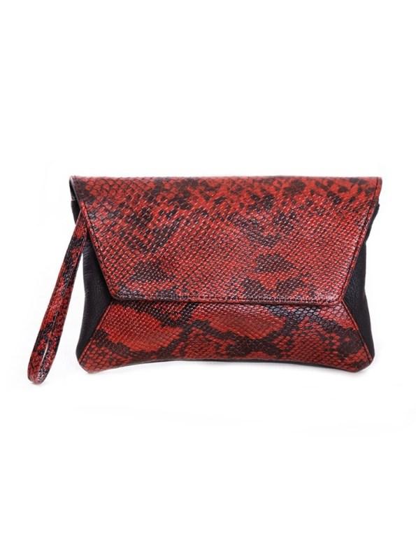 House of Cinnamon Jan Clutch Bag Black & Red