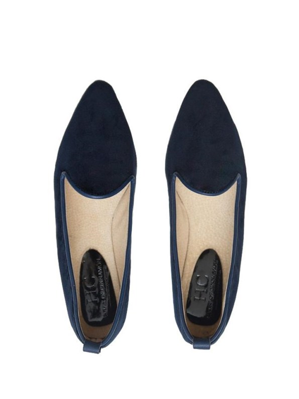 House of Cinnamon Robyn Velvet Loafer Navy Pair