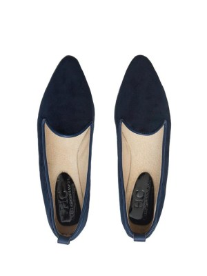 Navy velvet loafers