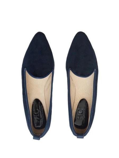 Navy velvet loafers