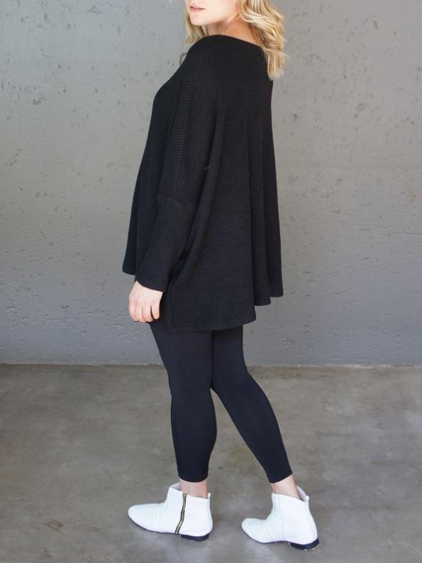 JMVB Goodall Boxy Knit Sweater Black Back