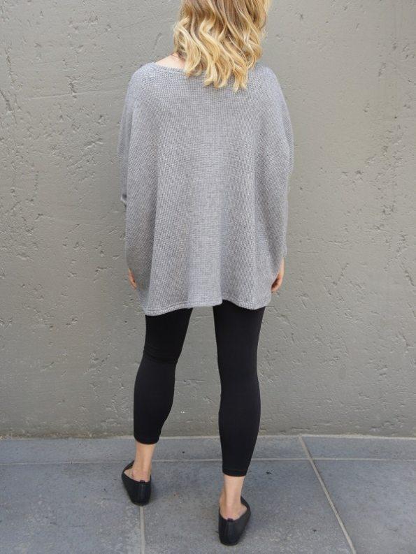 JMVB Goodall Boxy Knit Sweater Grey Back