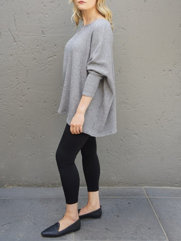 JMVB Goodall Boxy Knit Sweater Grey Side