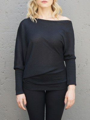 Black Asymmetrical Top with black leggings