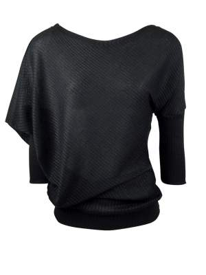 Black Asymmetric Knit Top