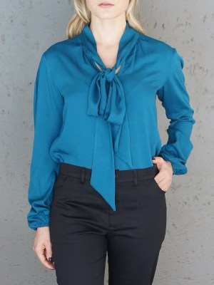 Blue pussy bow blouse
