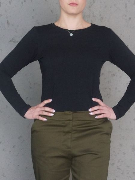 JMVB Black Long Sleeve Tee Cropped