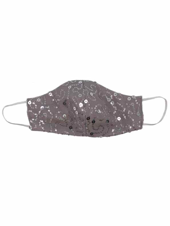Equilibrio Bling Sequin Face Mask Silver
