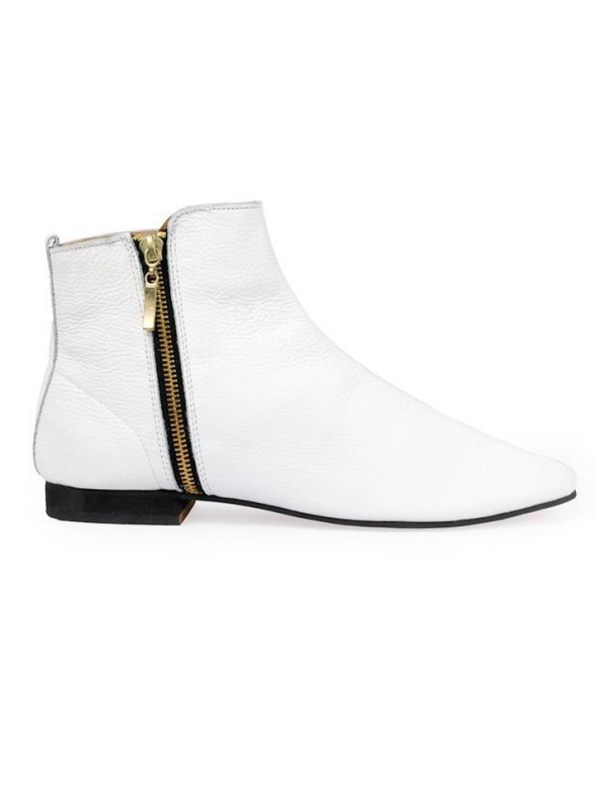 House of Cinnamon Suna Classic Ankle Boot White Side