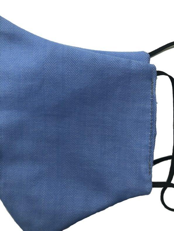 JMVB Face Mask Blue Herringbone Closeup