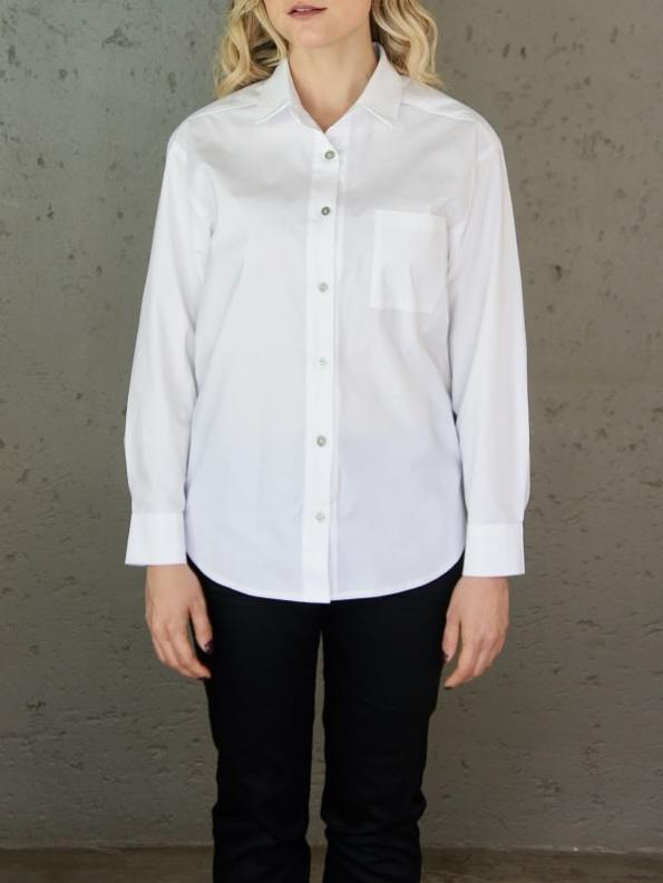 JMVB Hynde Boyfriend Shirt White Cropped