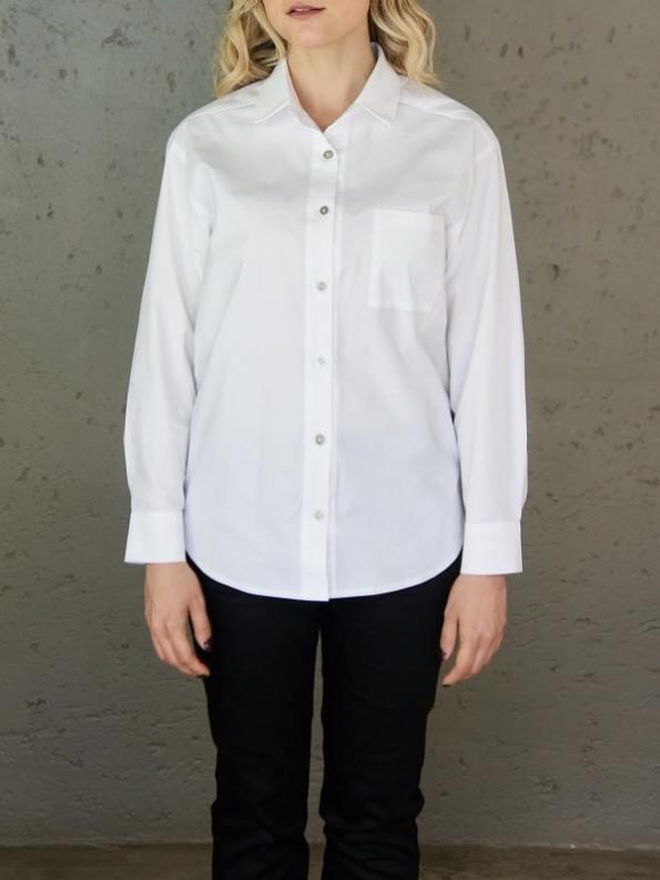 JMVB Hynde Boyfriend Shirt White Cropped