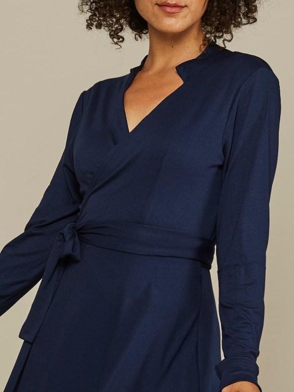 Mareth Colleen Henry Wrap Dress Navy Bodice