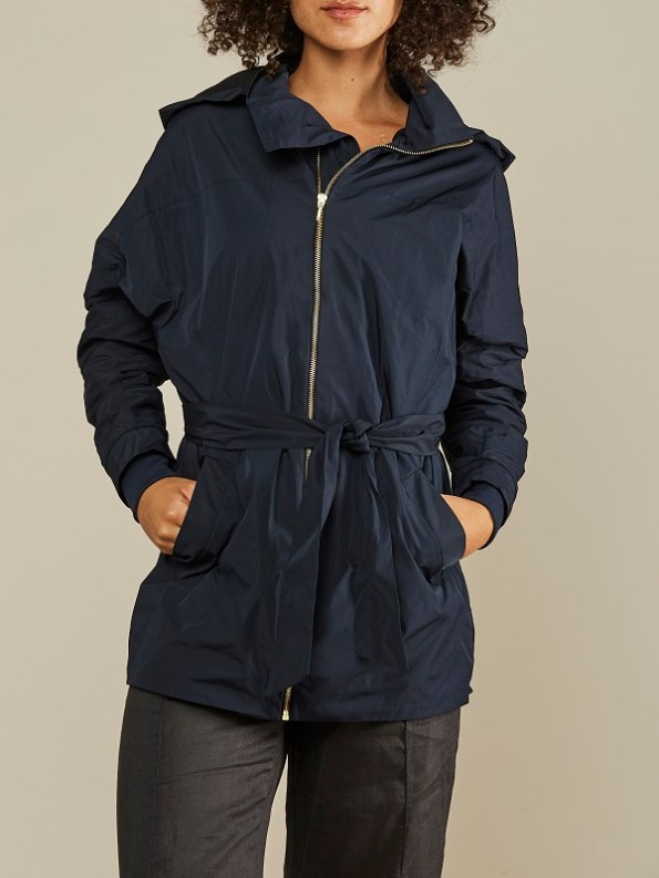 Mareth Colleen Parka Navy Cropped Hood Down