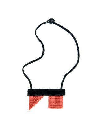 Coral and black beaded necklace Zulu Love Letter South Africa