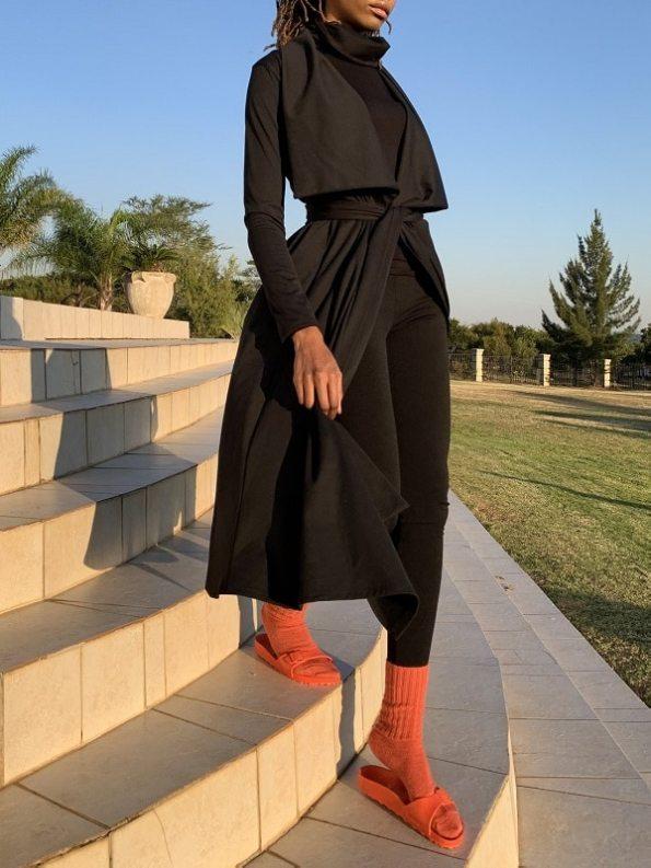 Erre Kick Back Socks Coral Mohair Blend on Model