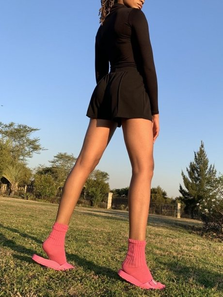 Model with pink mohair socks South Africa