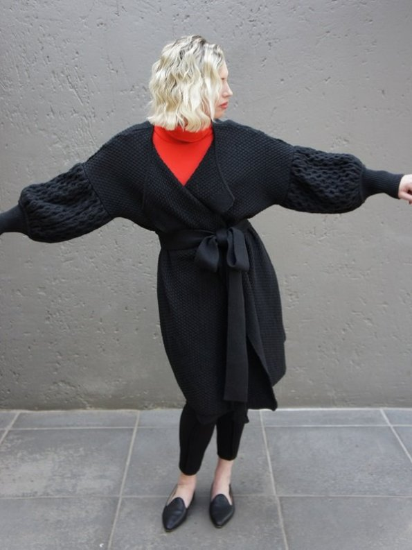 Erre Knitted Coat Black Mohair Blend Arms Out