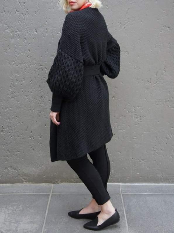 Erre Knitted Coat Black Mohair Blend Back