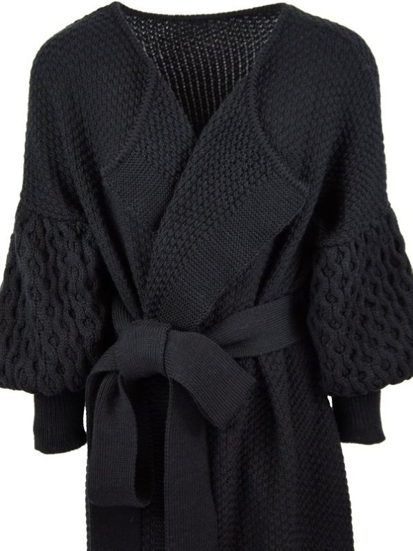 Erre Knitted Coat Black Mohair Blend Cropped