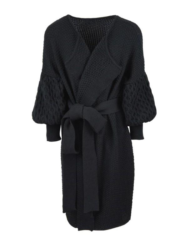 Erre Knitted Coat Black Mohair Blend
