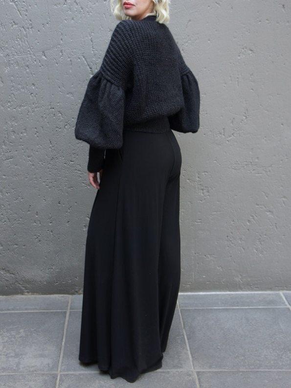 Erre Knitted Sweater Black Mohair Blend Back