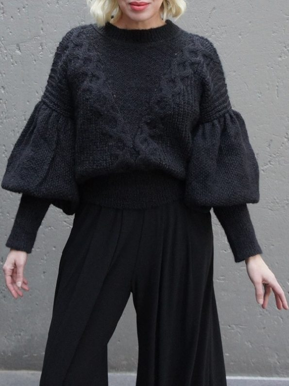 Erre Knitted Sweater Black Mohair Blend Cropped