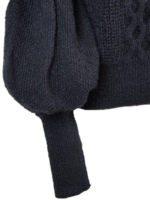 Erre Knitted Sweater Black Mohair Blend Sleeve