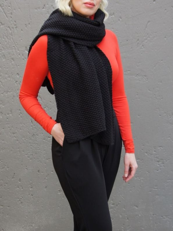 Erre Knitted Wrap Black Mohair as Scarf