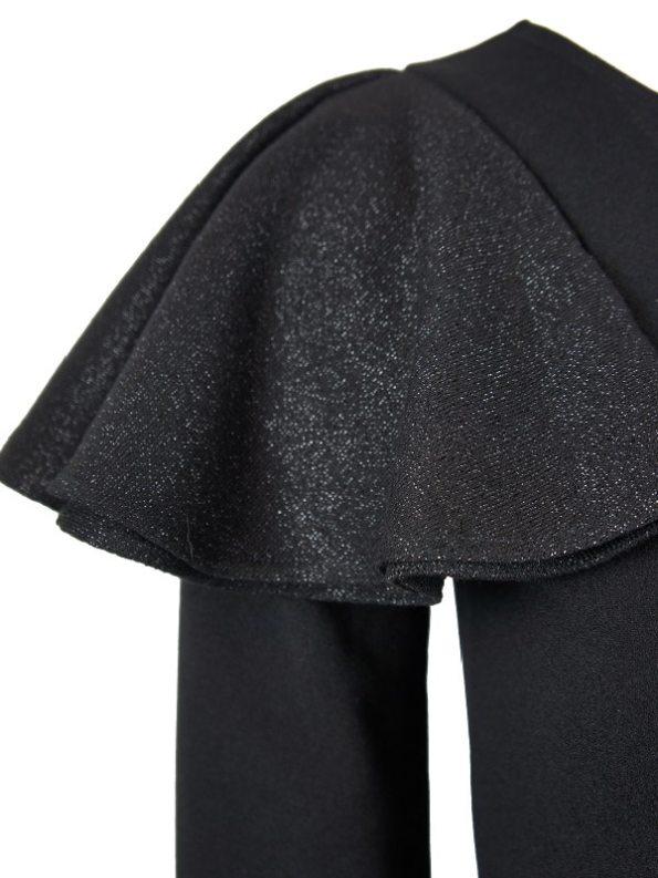 Erre Pencil Evening Dress Black Flouce Sleeve