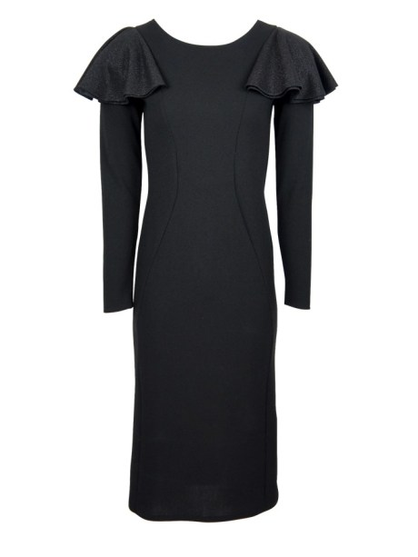 Pencil Black evening dress with shoulder frill South Africa
